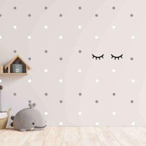 סט מדבקות קיר זוג ריסים ונקודות