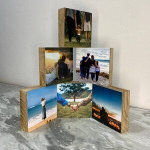 """6 תמונות על בלוק מעץ בגודל 10X10 ס""""מ"""