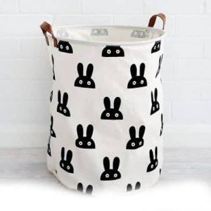 סל אחסון גדול בהדפס ארנבים שחור-לבן