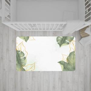 שטיח בהדפס עלים ירוקים על רקע בהיר