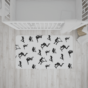 שטיח בהדפס פעלולן קורקינט בשחור-לבן