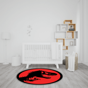 שטיח בהדפס שלד דינוזאור באדום-שחור