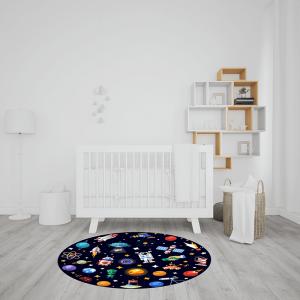שטיח בהדפס צבעוני של החלל החיצון