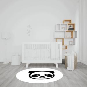 שטיח פרצוף דוב פנדה בשחור-לבן