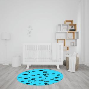 שטיח אקווריום דגים בשחור על רקע כחול
