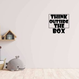 "מדבקת משפט ""THINK OUTSIDE THE BOX"""