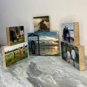 סט 6 תמונות על בלוק מעץ בגדלים שונים