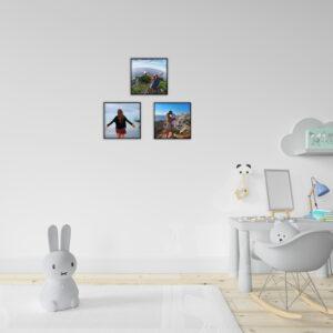 """3 תמונות ממוסגרות לתלייה על הקיר בגודל 20X20 ס""""מ"""