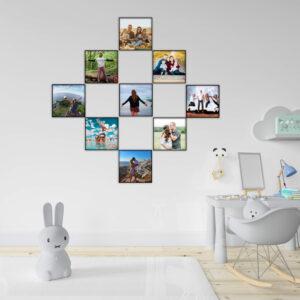 """9 תמונות ממוסגרות לתלייה על הקיר בגודל 20X20 ס""""מ"""