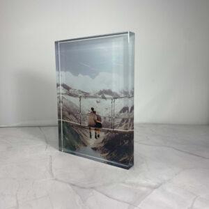 """תמונה על בלוק מזכוכית קריסטל בגודל 15X20 ס""""מ"""